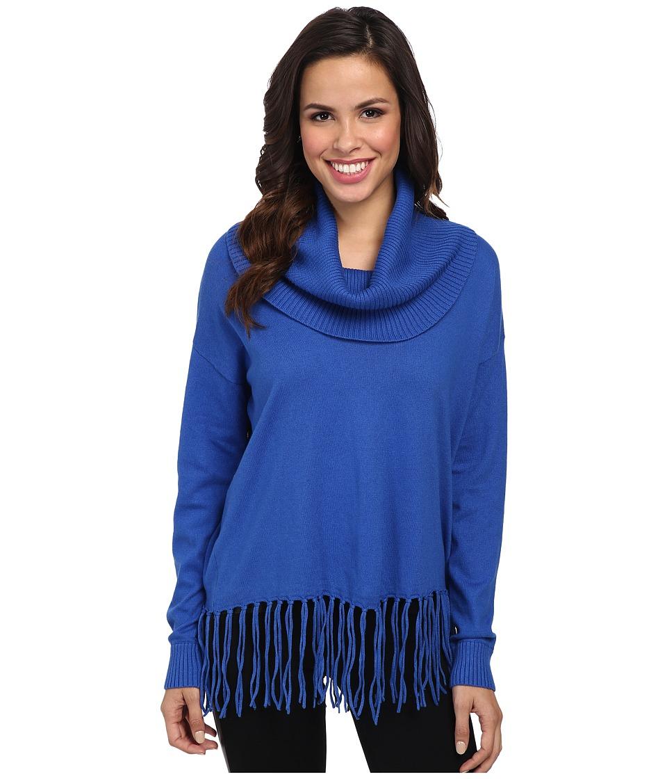 MICHAEL Michael Kors - Fringe Hem Cowl Neck Sweater (Amalfi Blue) Women