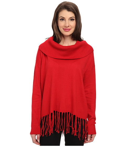 MICHAEL Michael Kors - Fringe Hem Cowl Neck Sweater (Red Blaze) Women's Long Sleeve Pullover