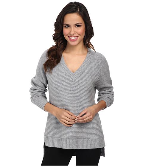 MICHAEL Michael Kors - Long Sleeve Horizontal Shaker V-Neck Sweater (Pearl Heather) Women's Sweater