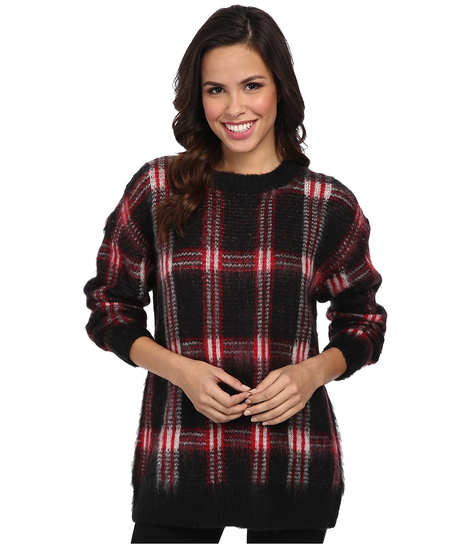 MICHAEL Michael Kors - Plaid Long Sleeve Crew Neck Sweater (Red Blaze) Women