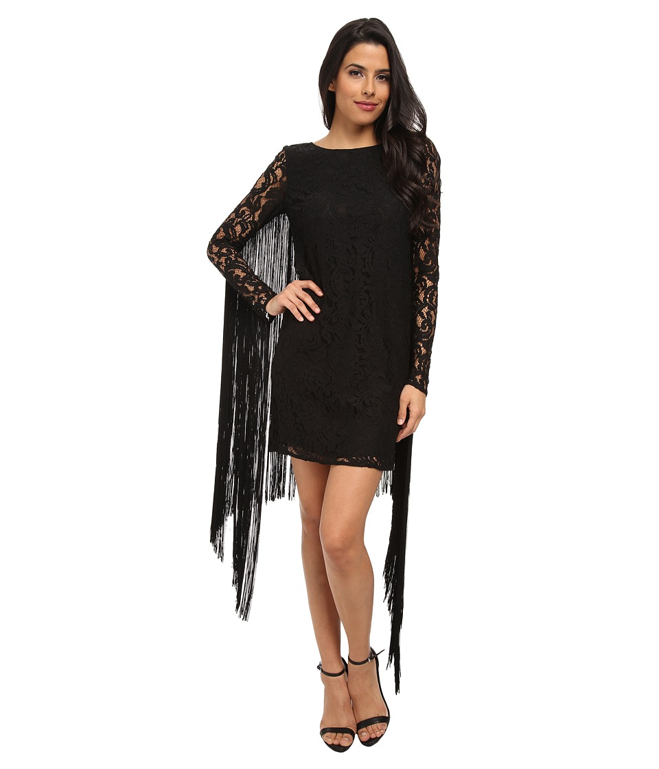 MICHAEL Michael Kors - Long Sleeve Fringe Dress (Black) Women's Dress