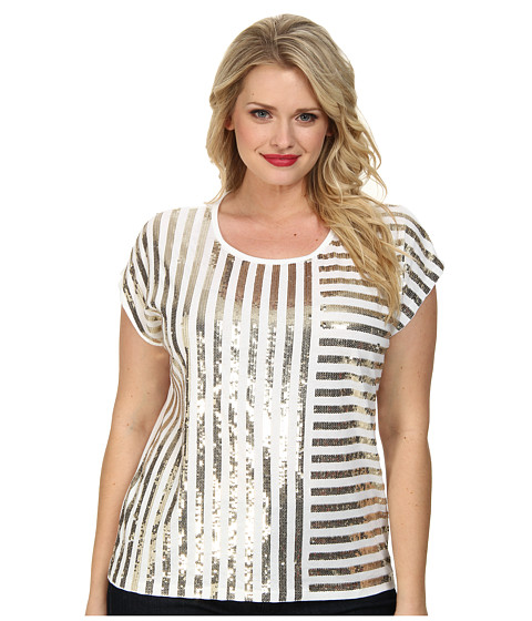 MICHAEL Michael Kors - Plus Size Stripe Mix Sequin Top (White/Gold) Women