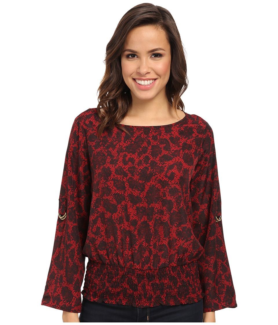 MICHAEL Michael Kors - Brementon Kimono Top (Red Blaze) Women's Long Sleeve Pullover