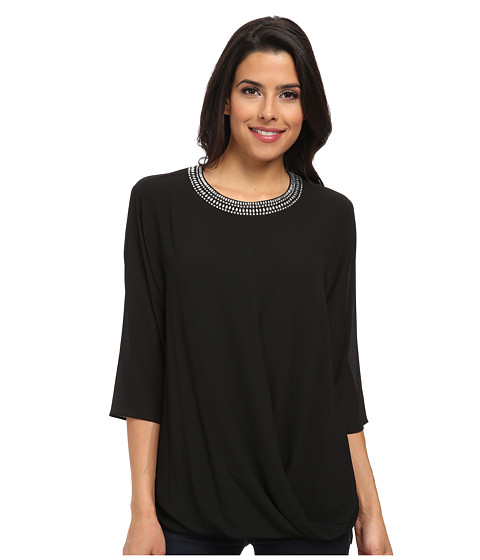 MICHAEL Michael Kors - Embellished Neck Top (Black) Women