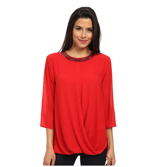 MICHAEL Michael Kors - Embellished Neck Top (Red Blaze) Women's Blouse