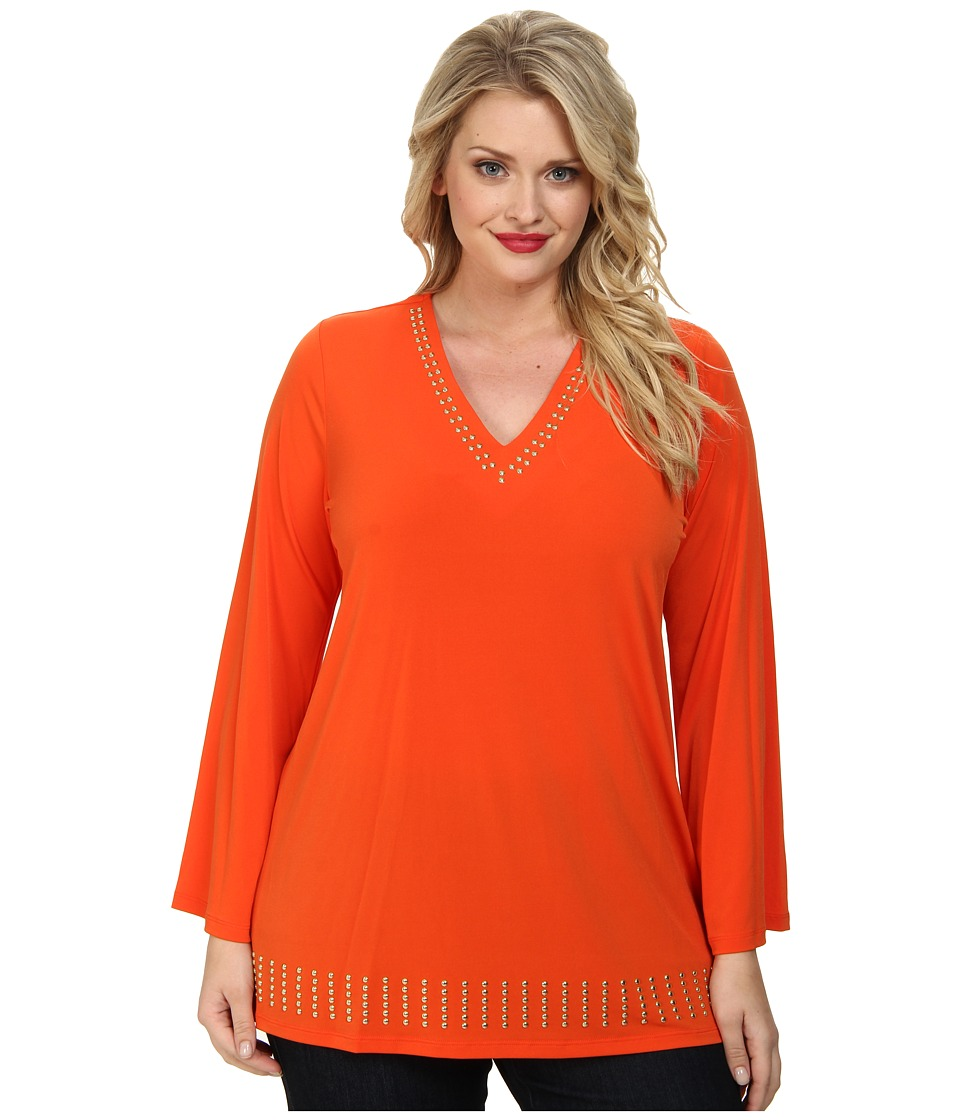MICHAEL Michael Kors - Plus Size Stud V-Neck Tunic (Mandarin) Women's Blouse
