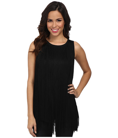 MICHAEL Michael Kors - Fringe Tank (Black) Women's Sleeveless