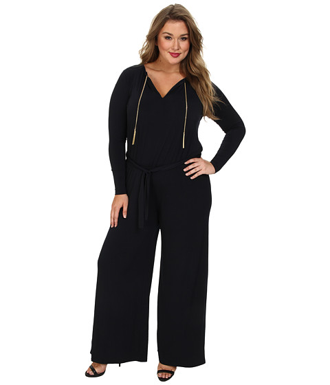 MICHAEL Michael Kors - Plus Size Long Sleeve Chain Neck Wideleg Jumpsuit (New Navy) Women's Jumpsuit & Rompers One Piece