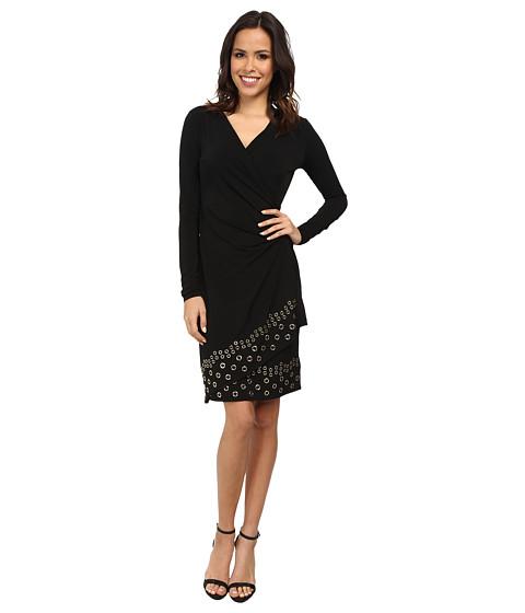 MICHAEL Michael Kors - Long Sleeve Grommet Hem Wrap Dress (Black/Gold) Women's Dress