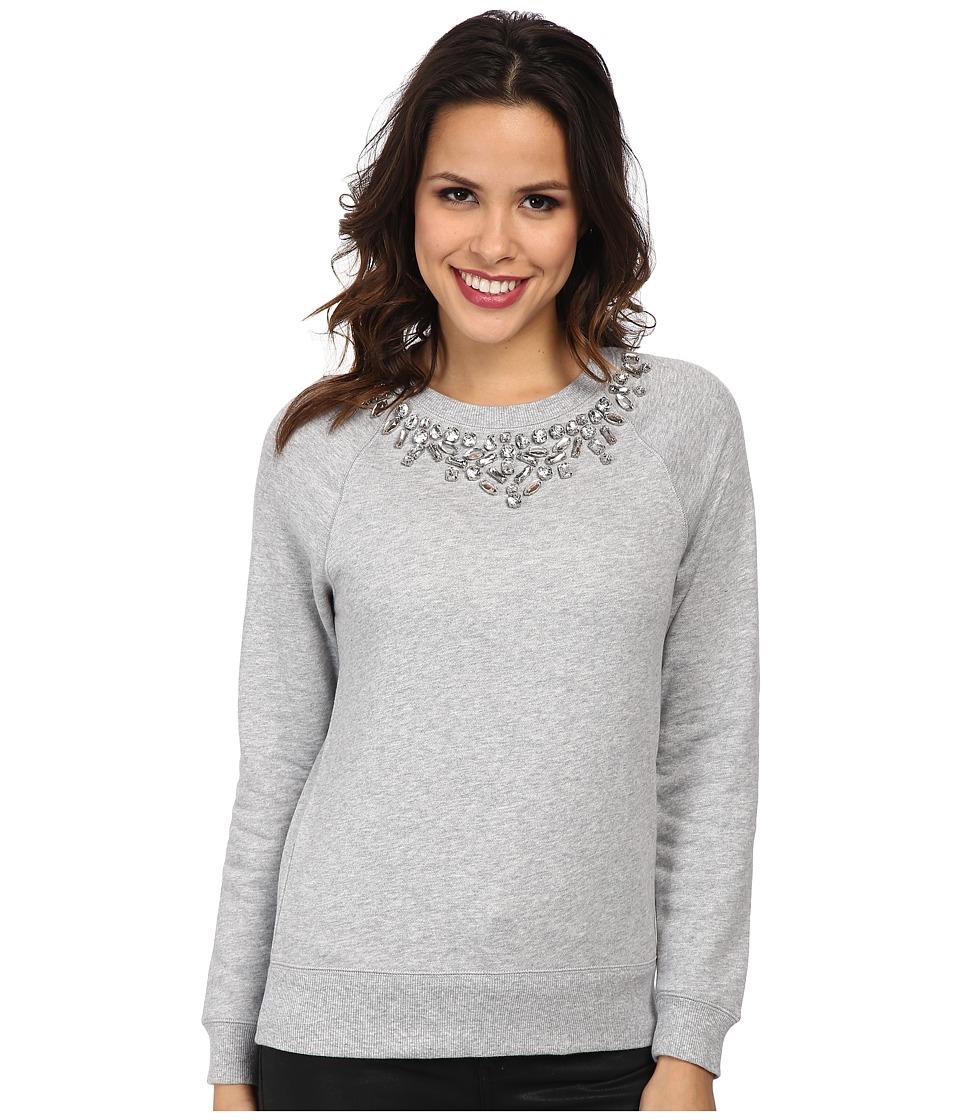 MICHAEL Michael Kors - Long Sleeve Embellished Raglan Crew (Pearl Heather) Women's Long Sleeve Pullover