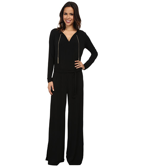 MICHAEL Michael Kors - Long Sleeve Chain Neck Wide Leg Jumpsuit (Black/Gold) Women's Jumpsuit & Rompers One Piece