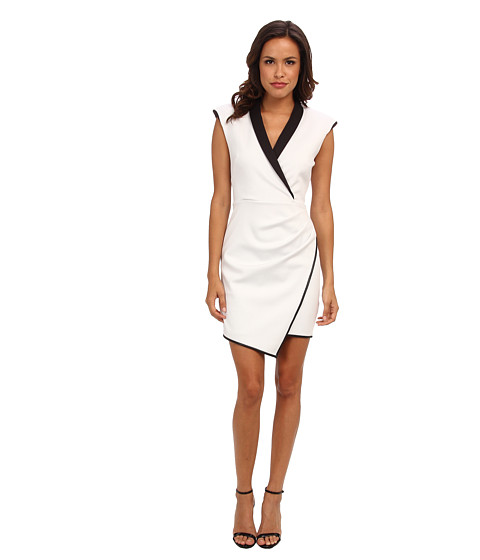 ABS Allen Schwartz - Contrast Shawl Collar Asymmetrical Wrap Dress (Ivory) Women's Dress