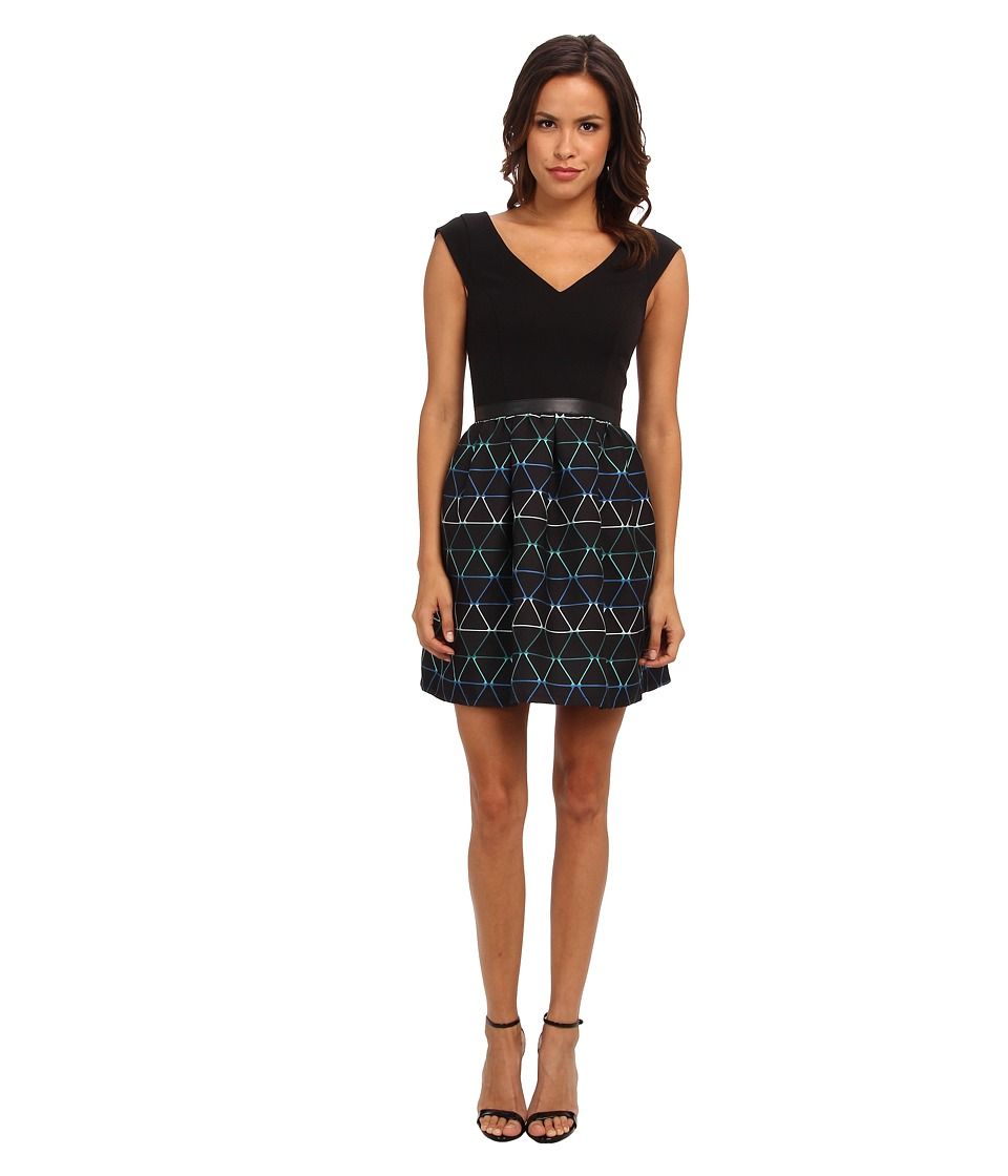 Image of ABS Allen Schwartz - Cocktail Dress with Stripe Bottom (Navy) Women's Dress