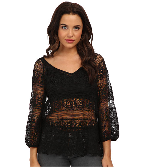 Free People - Saturdays Lace Top (Black) Women's Clothing