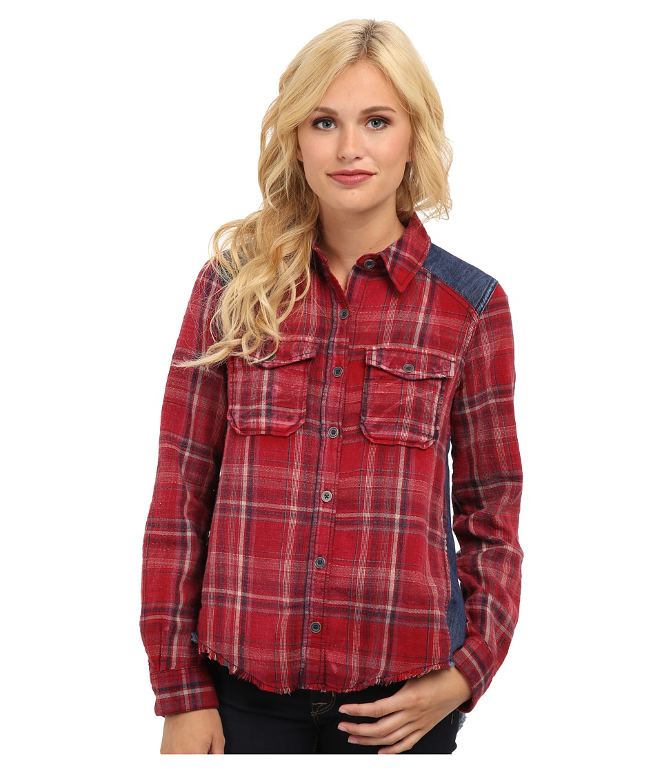 Free People - Road Trip Top (Crimson Combo) Women's Long Sleeve Button Up