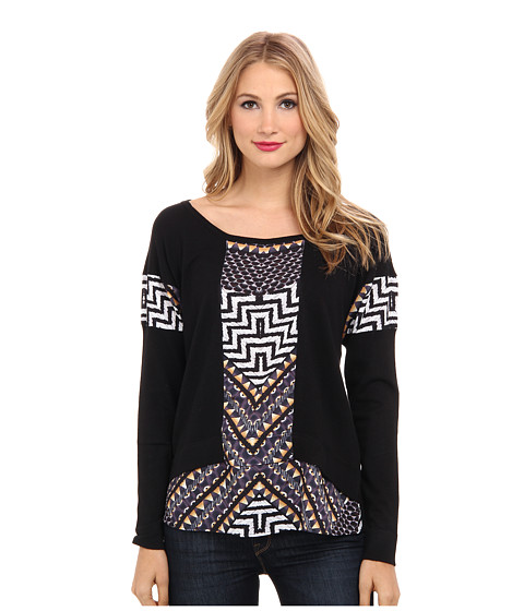 Hale Bob - Fall Into Tribal Mixed Media Top (Black) Women