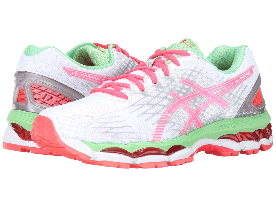 ASICS - GEL-Nimbus 17 (White/Hot Coral/Apple) Women's Running Shoes