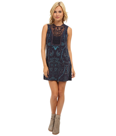 Free People - Printed Maribelle Mini Dress (Midnight Combo) Women's Dress
