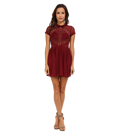 Free People - All That Talk Dress (Burgundy) Women