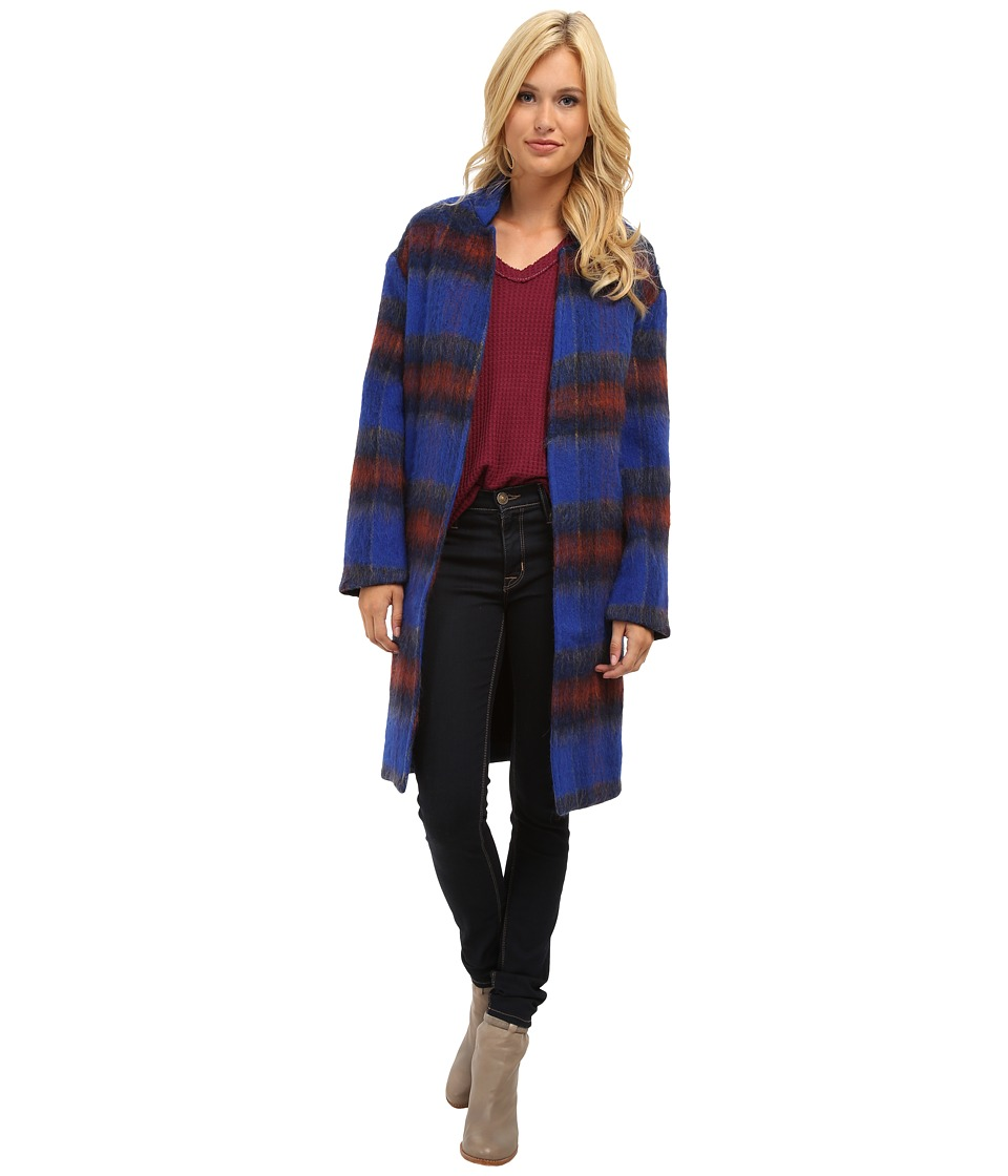 Free People - Plaid Long n Lean Jacket (Blue Plaid) Women