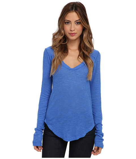 Free People - Layering Me L/S (Aquatic Blue) Women
