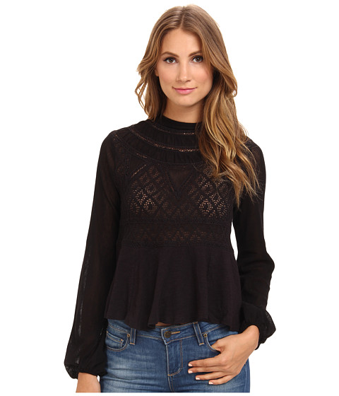 Free People - English Rose Swit (Black) Women's Blouse