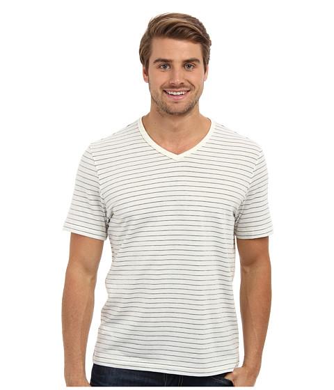 Perry Ellis - Short Sleeve Cotton Stripe V-Neck Shirt (Vanilla) Men