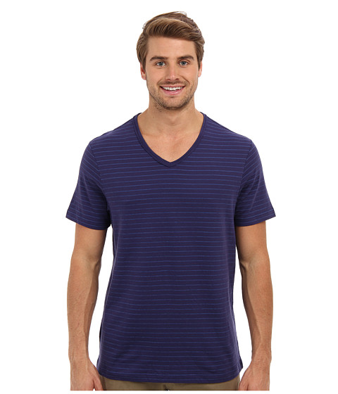 Perry Ellis - Short Sleeve Cotton Stripe V-Neck Shirt (Mosaic Blue) Men's Short Sleeve Pullover
