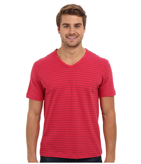 Perry Ellis - Short Sleeve Cotton Stripe V-Neck Shirt (Jaipur Pink) Men's Short Sleeve Pullover