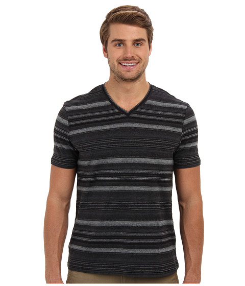 Perry Ellis - Short Sleeve Cotton Poly Blend V-Neck Shirt (Black) Men