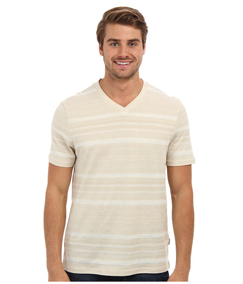 Perry Ellis - Short Sleeve Cotton Poly Blend V-Neck Shirt (Sand) Men