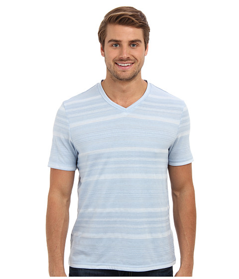 Perry Ellis - Short Sleeve Cotton Poly Blend V-Neck Shirt (Kentucky Blue) Men