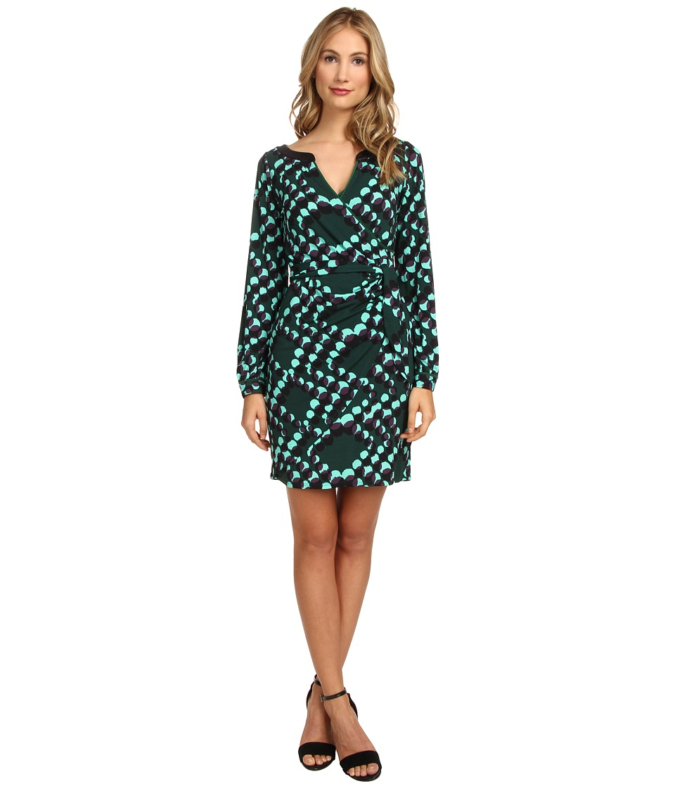 Hale Bob - Abstract Messages Faux Wrap Dress (Emerald) Women's Dress