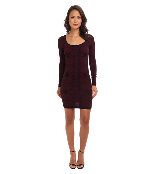 Free People - Jacquard Seamless Bodycon Slip (Very Berry Combo) Women