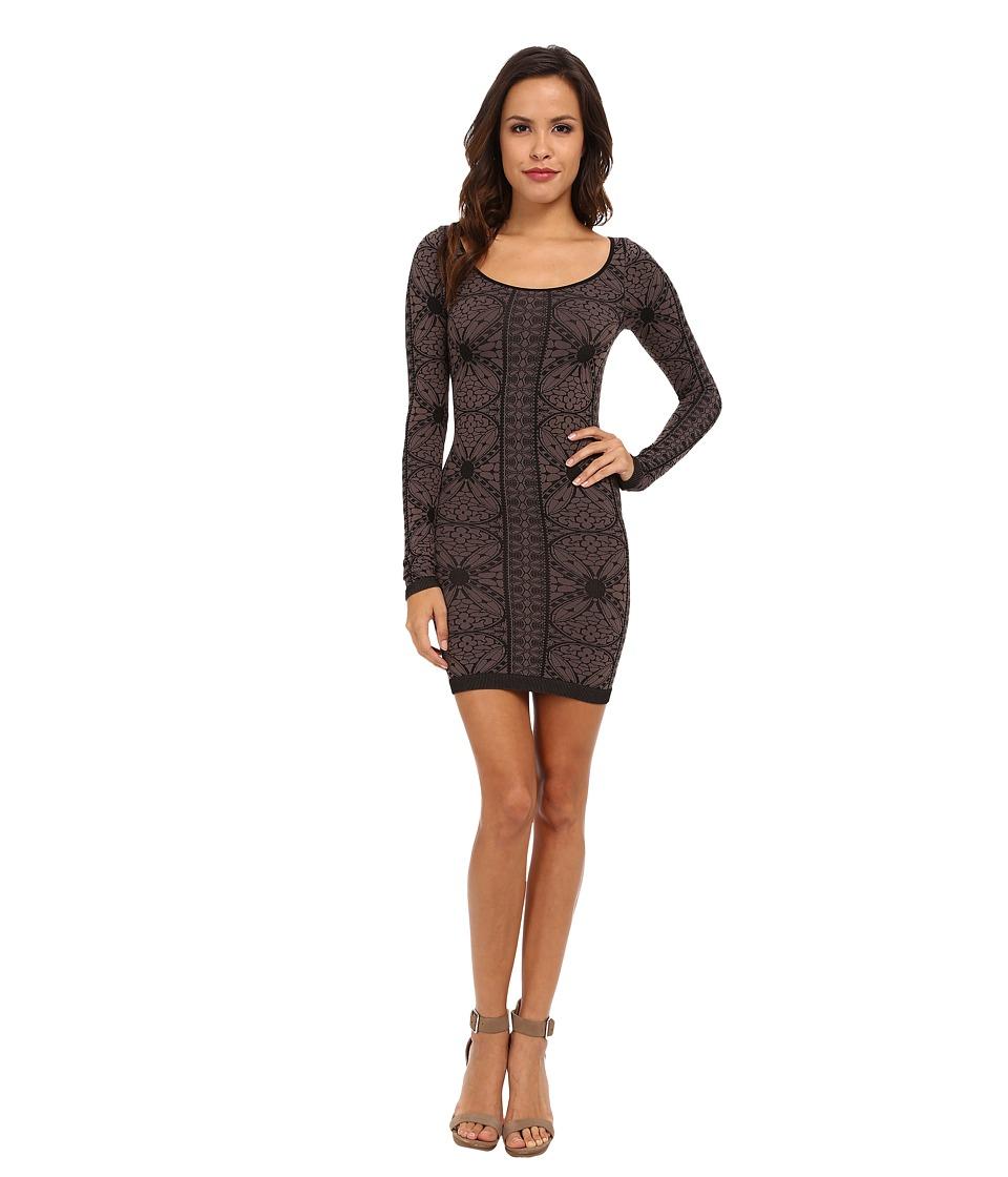Free People - Jacquard Seamless Bodycon Slip (Black Combo) Women's Dress