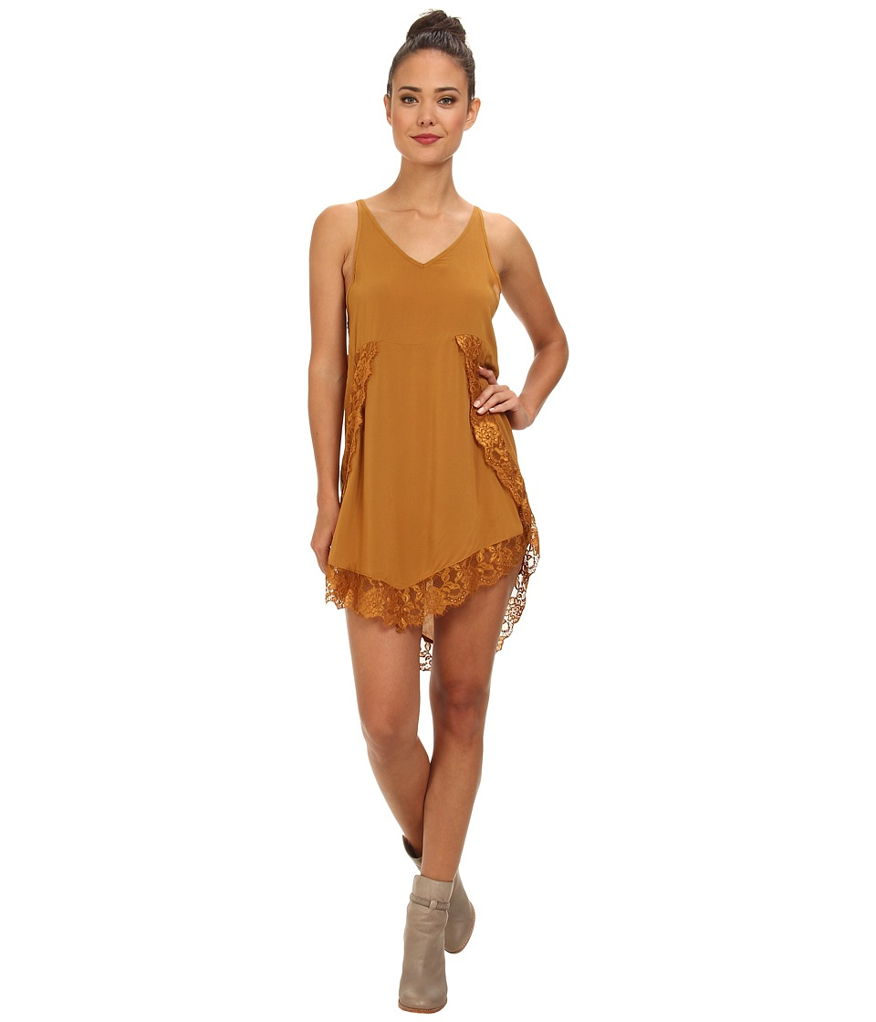 Free People - Eyelashes Slip (Dark Mustard) Women's Dress