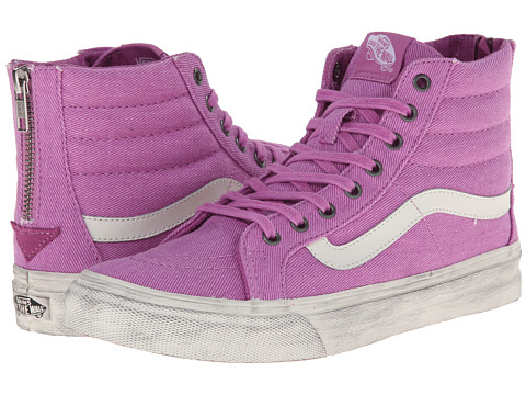 Vans - SK8-Hi Slim Zip ((Overwashed) Radiant Orchid) Skate Shoes