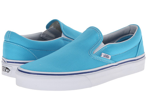 Vans - Classic Slip-On (Cyan Blue/True White) Skate Shoes