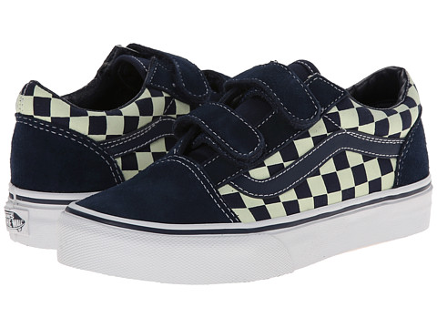 Vans Kids - Old Skool V (Little Kid/Big Kid) ((Checkerboard) Dress Blues/Glow In The Dark) Boys Shoes