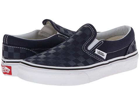 Vans Kids - Classic Slip-On (Little Kid/Big Kid) ((Tonal Check) Dress Blues/True White) Kids Shoes