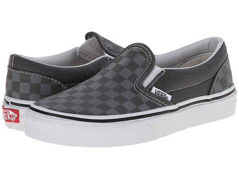 Vans Kids - Classic Slip-On (Little Kid/Big Kid) ((Tonal Check) Castlerock/True White) Kids Shoes