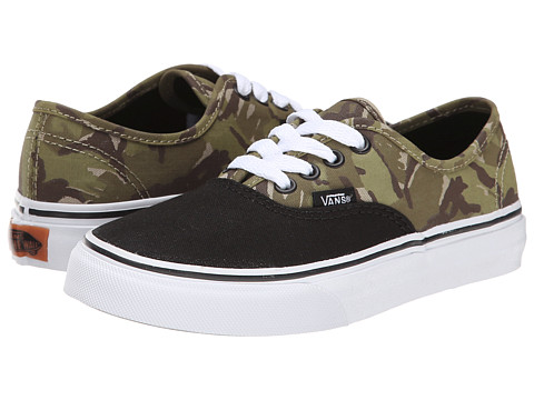 Vans Kids - Authentic (Little Kid/Big Kid) ((2 Tone Camo) Black/True White) Boys Shoes