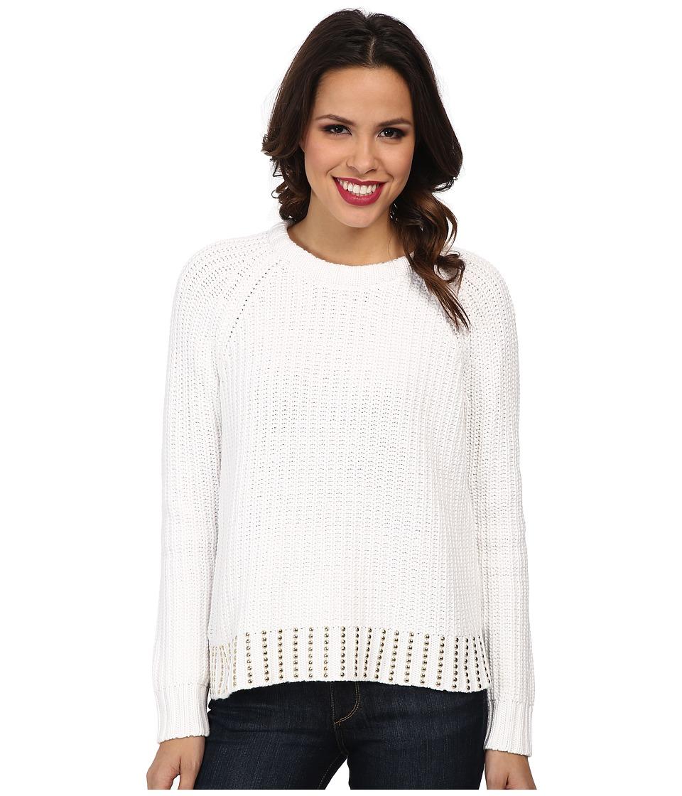 MICHAEL Michael Kors - Bead Hem Long Sleeve Crew Sweater (White/Gold) Women's Long Sleeve Pullover
