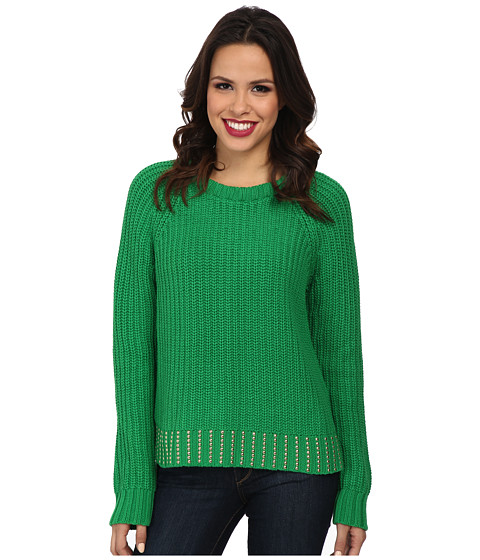 MICHAEL Michael Kors - Bead Hem Long Sleeve Crew Sweater (Spring Green) Women's Long Sleeve Pullover