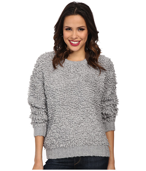 MICHAEL Michael Kors - Long Sleeve Knitted Fur Crew Neck (Pearl Heather) Women