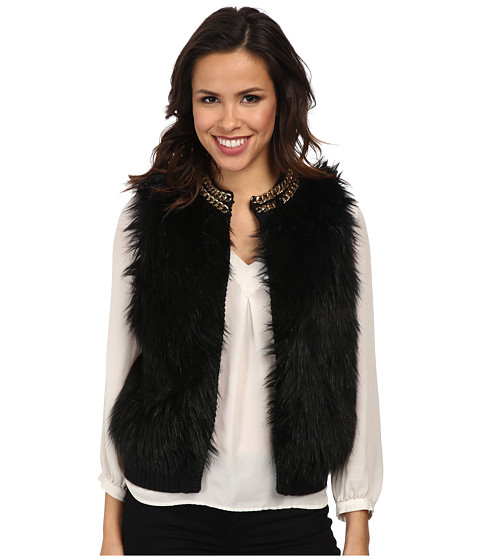 MICHAEL Michael Kors - Chain Neck Fur Front Vest (Black) Women's Vest