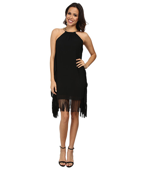MICHAEL Michael Kors - Chain Halter Fringe Dress (Black) Women's Dress