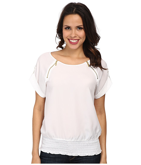MICHAEL Michael Kors - Short Sleeve Raglan Zip Top (White) Women's Short Sleeve Pullover
