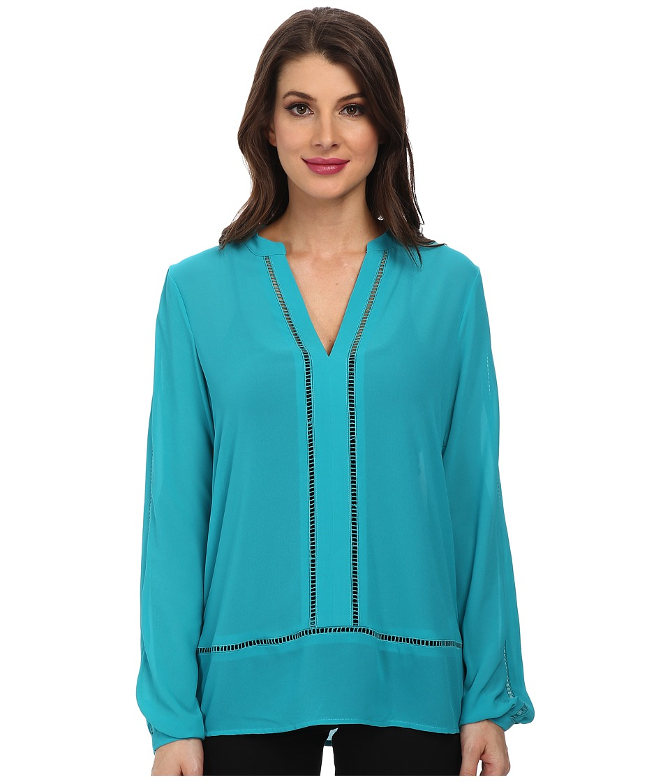 MICHAEL Michael Kors - Long Sleeve Tunic (Tile Blue) Women's Blouse