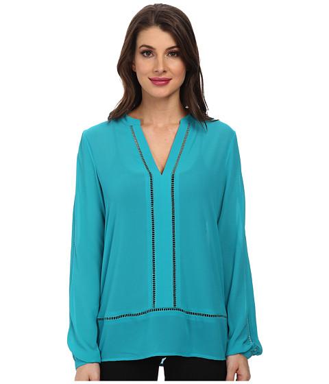 MICHAEL Michael Kors - Long Sleeve Tunic (Tile Blue) Women's Blouse